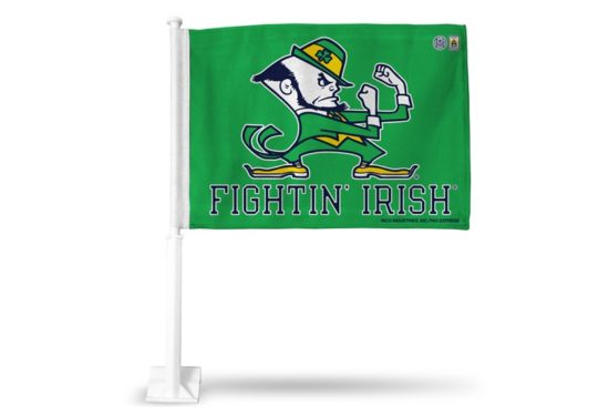 Notre Dame Kelly Green Car Flag