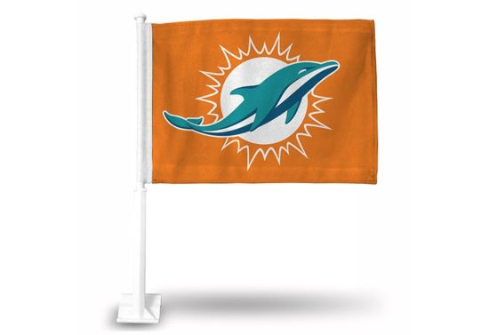 DOLPHINS LOGO ONLY CAR FLAG ORANGE BACKGROUND
