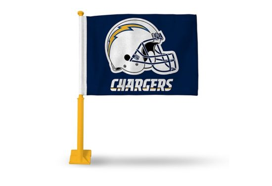 LOS ANGELES CHARGERS CAR FLAG WITH COLORED POLE (GOLD POLE)